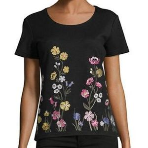 NWT Karen Scott Embroidered Floral Garden Shirt 1X